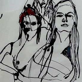 Three wise women Ink & watercolour / rice paper A4.